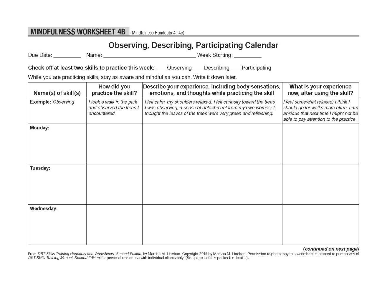 Image Result For Mindfulness Dbt Skills Worksheet