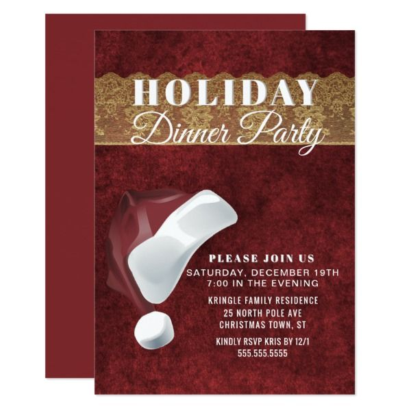Dinner Party Invitation Ideas Part - 34: Elegant Santa Red Holiday Dinner Party Invitation Custom Office Party  Invitations #office #partyplanning
