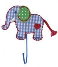 Dit vrolijke kledinghaakje heeft de vorm van een olifantje en zal op een jongenskamer niet alleen praktisch zijn, maar ook leuk.