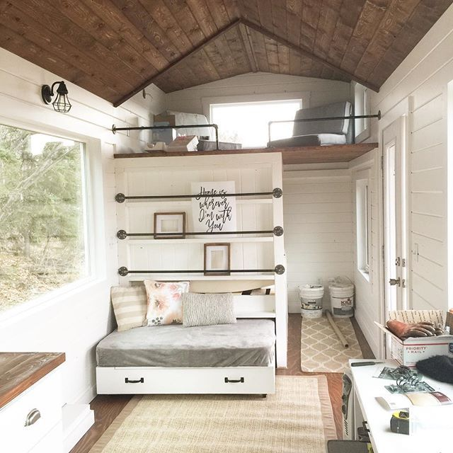 Tiny house loft with bedroom guest bed storage and shelving tiny home pinterest tiny - Houses bedroom first floor fit needs ...