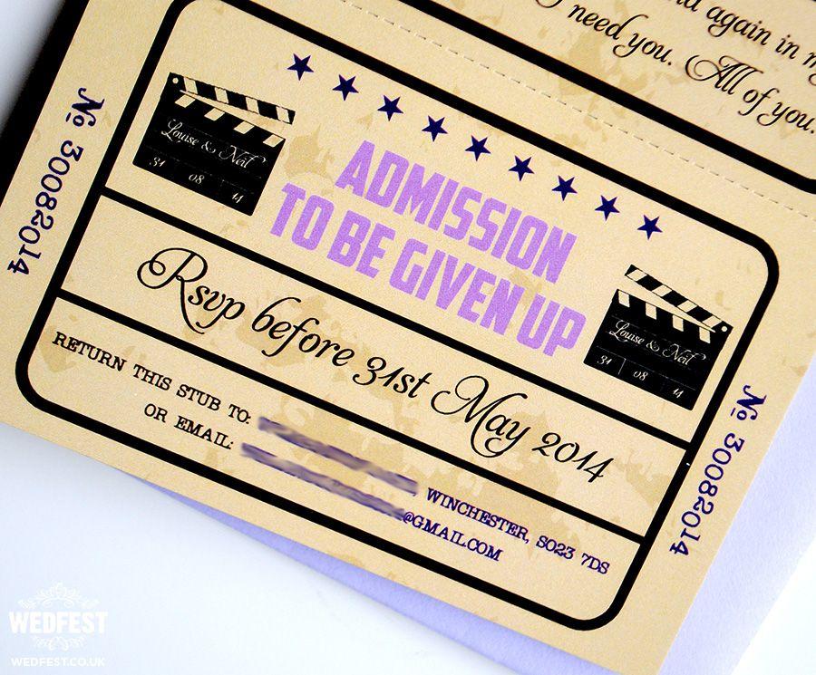 vintage cinema movie ticket wedding invitations | Wedding invitation ...