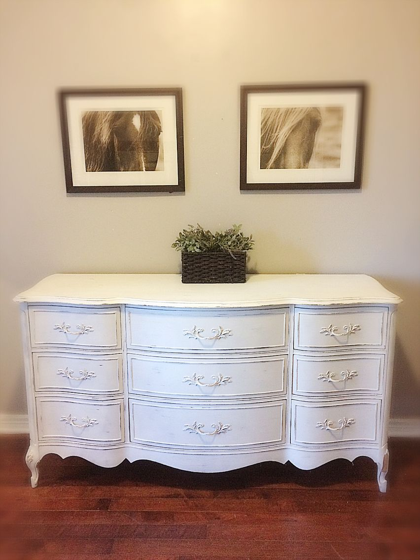 Unique White Vintage Rustic /French/Cottage /Shabby Chic French Provincial  Bedroom Dresser /