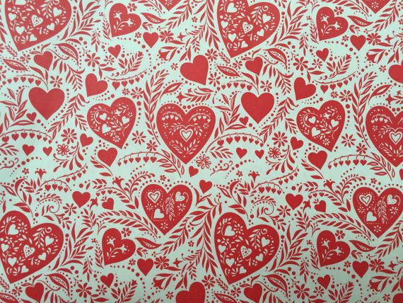 Vintage Gift Wrapping Paper Valentine S Day Gift Paper Lacy Red