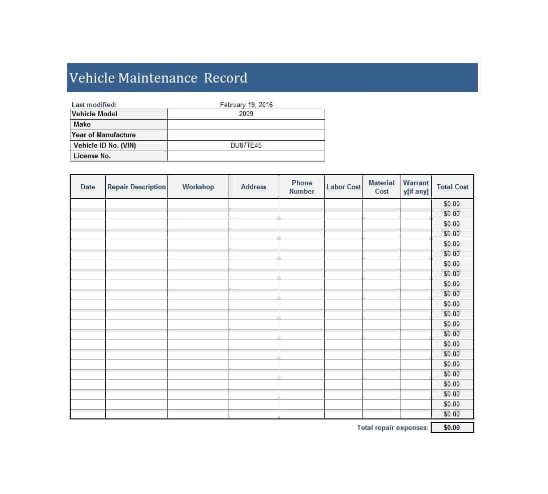 Vehicle Maintenance Log Templates Vehicle Maintenance Log Spreadsheet Template Computer Maintenance
