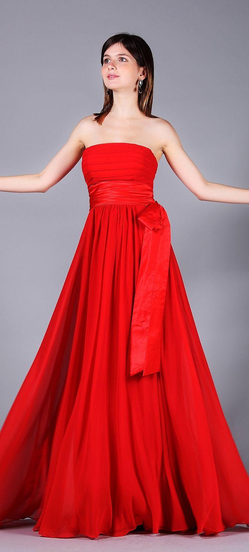 Rotes Abendkleid lang Brautjungfernkleid Traegerlos   Flame - Feuer ...