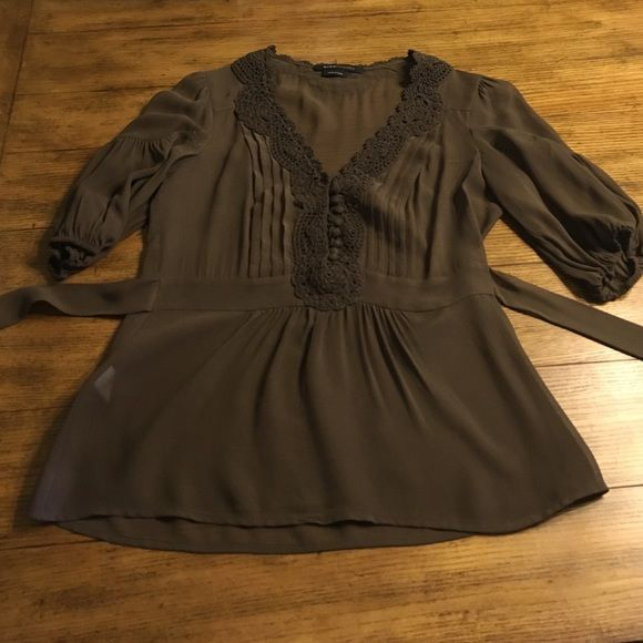 BCBG  Brown sheer top BCBG Brown 100% silk sheer top with tie in back. Small very, very light spot on bottom right (see picture). Front has covered buttons. Delicate sheer silk. BCBGMaxAzria Tops Blouses