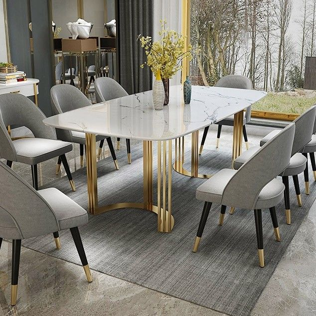 Faux Marble Dining Table Gold Dining Table Rectangular Stainless Steel Dining Table 6 Seat In 2021 Dining Table Marble Gold Dining Room Dining Table Gold