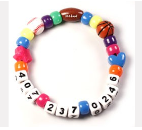 Cell phone number bracelet, when traveling with little ones in airports, large amusement parks.....