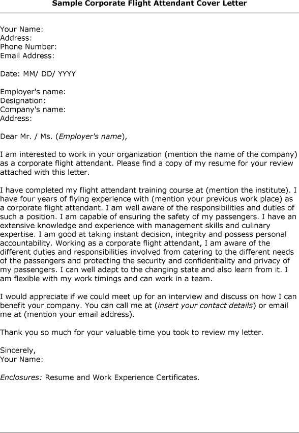 Cover Letter How To Type Correct Flight Attendant Cover Letter ...