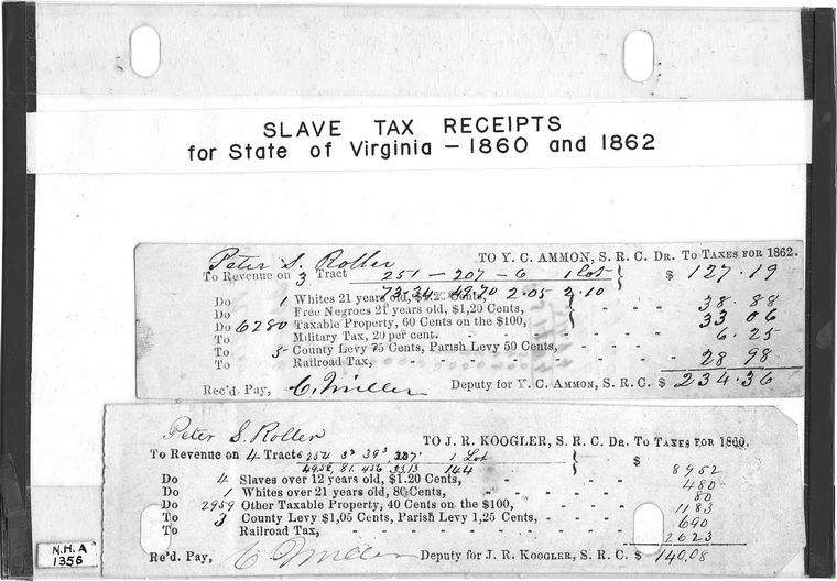 Slavery tax receipts for State of Virginia 1860 and 1862