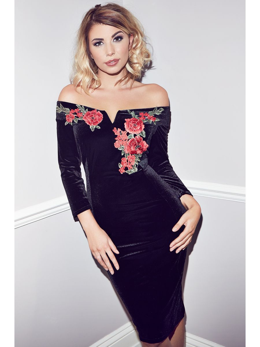 This ontrend black velvet embroidered bardot midi dress from quiz