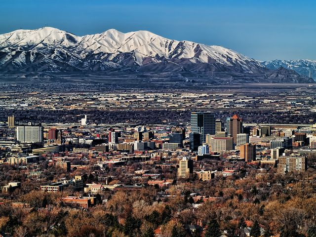 Salt Lake City Skyline Since This Is The Whole Downtown Traffic 0 Salt Lake City Utah Utah Vacation Beautiful Places On Earth