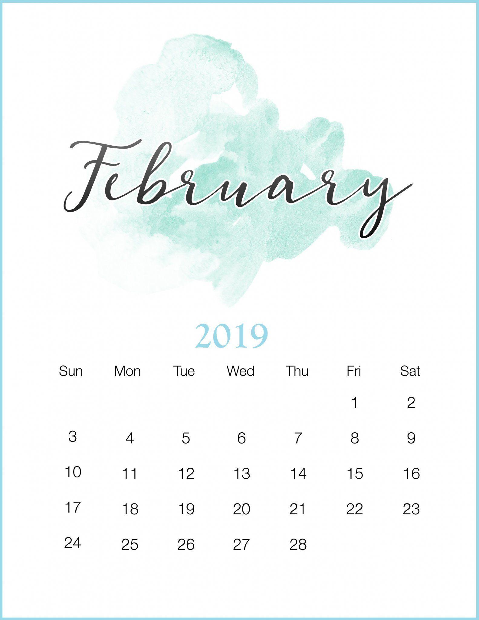 Calendar 2019 February Pinterest Watercolor 2019 February Printable Calendar | 250+ 2019 Calendars