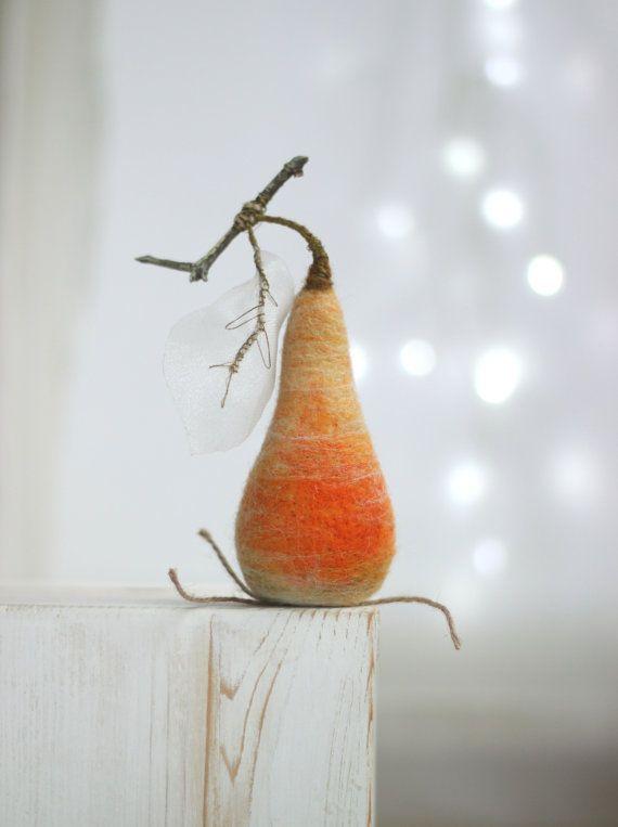 Needle Felted  Pear   Christmas Decoration  by FeltArtByMariana
