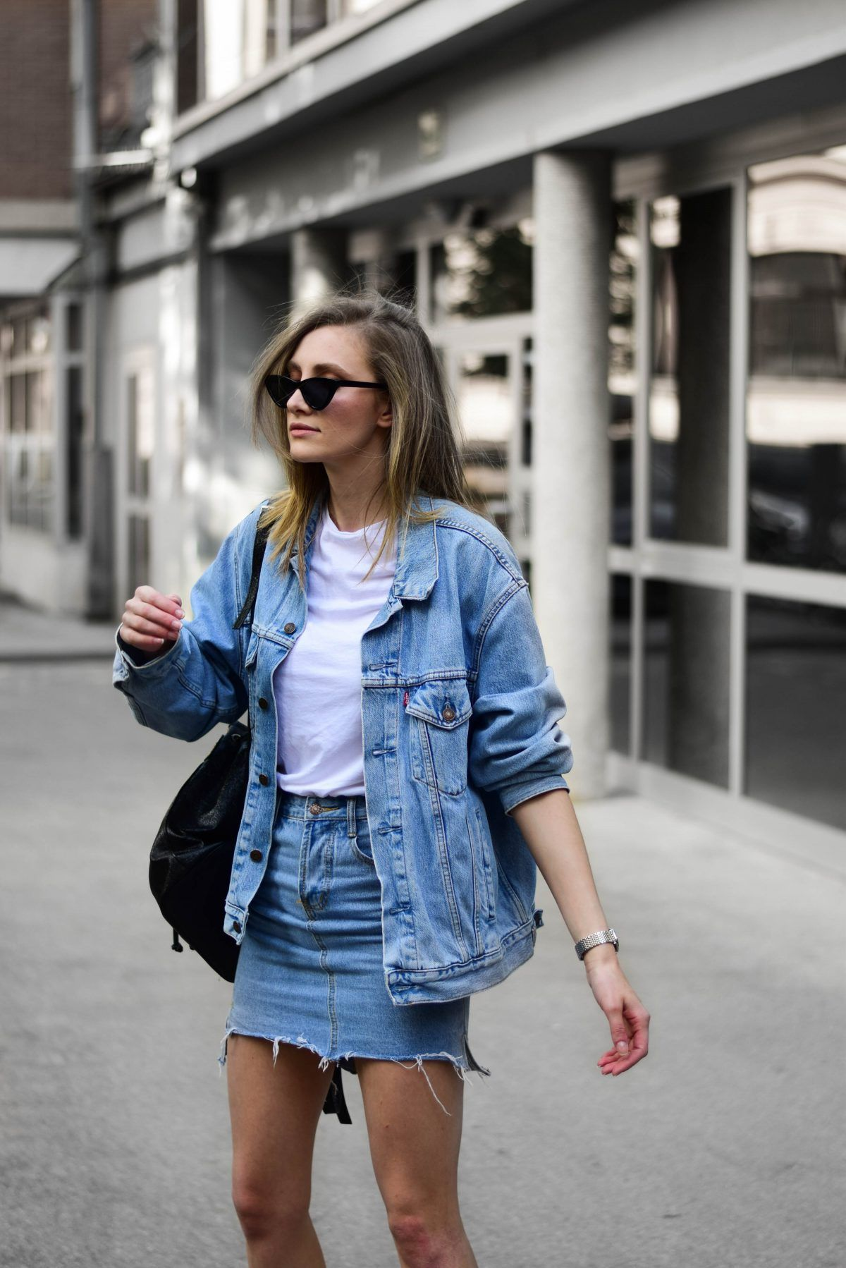 8728fa25d9 Double denim strikes again! I had to do a combo with denim skirt, vintage  jacket and ultra large Balenciaga Triple S dupes! These sneakers look so  good with ...