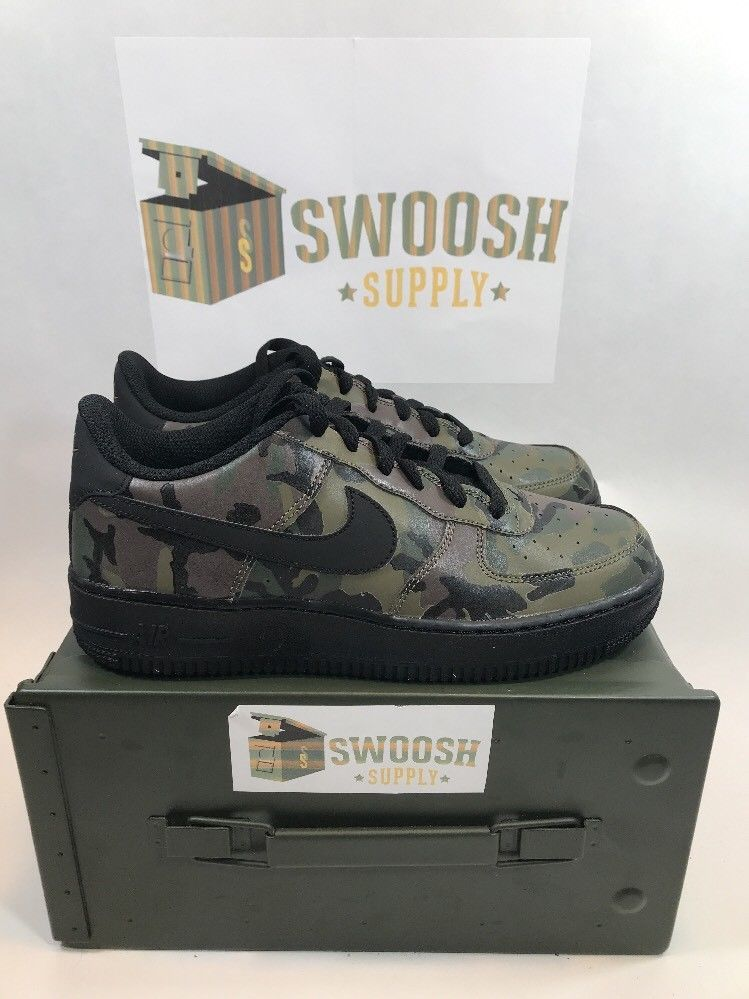 best loved fa34b ccf03 Nike Air Force 1 AF1 Low GS REFLECTIVE CAMO 3M OLIVE GREEN 820438-201 sz 7Y  Nike AirForce1
