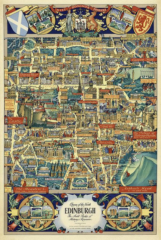 Edinburgh Pictorial Vintage Old Map Art Print By Owl Gallery In 2020 Scotland Map Map Art Print Map Art