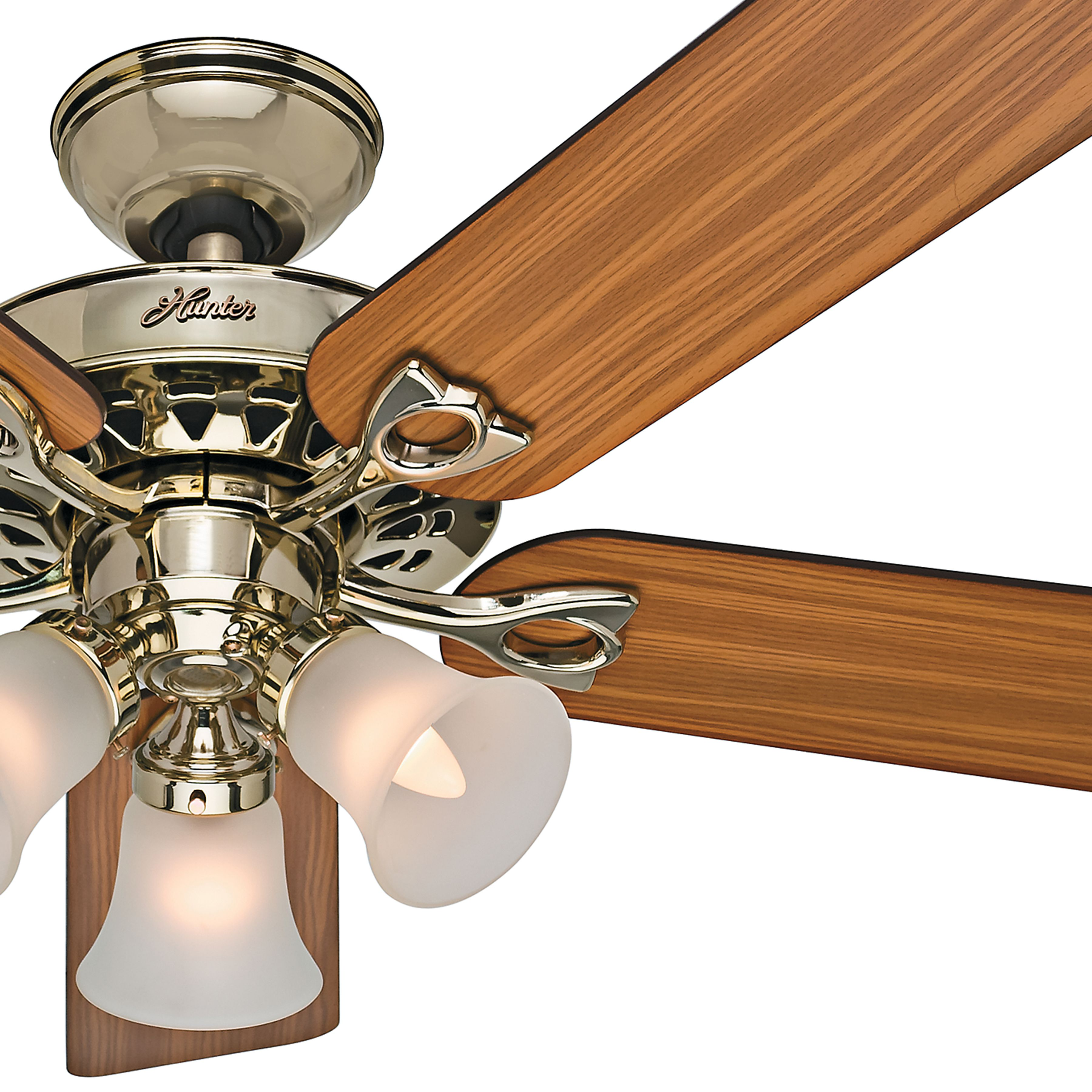 52 Bright Brass Finish Fan With Reversible Medium Blades Remote