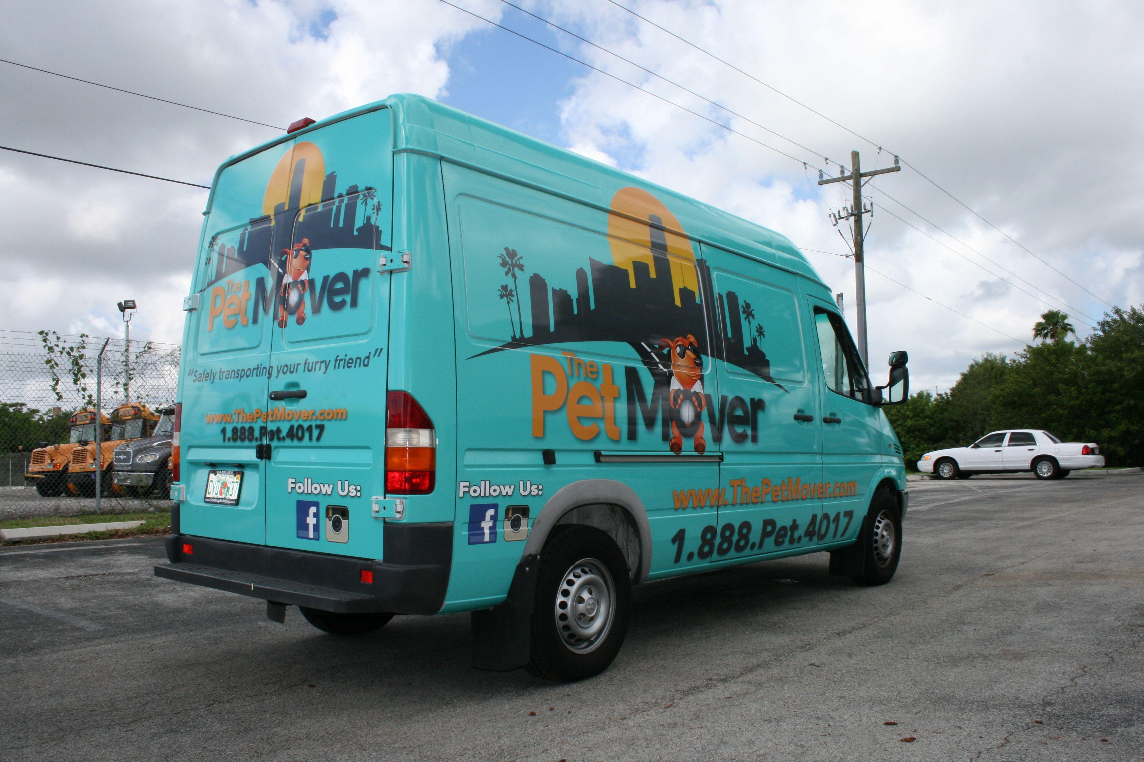 a46c7786b7 Sprinter van cargo van car wrap for Miami small business customer The Pet  Mover.