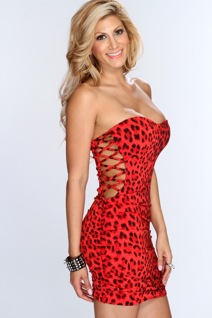 Red Leopard Print Cross Cut Out Sexy Party Dress