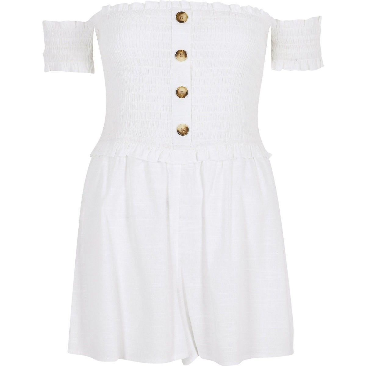 d49e7ee2a19b1 White bardot beach playsuit | Rompers in 2019 | Beach playsuit ...