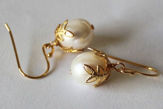 Bridesmaids Earrings Genuine Pearl Gold By Pearlland88 25 00