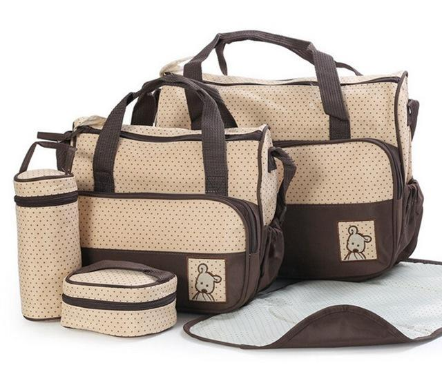 Stroller Straps and Bottle Holder Baby Diaper Nappy Bag Set with Changing Pad