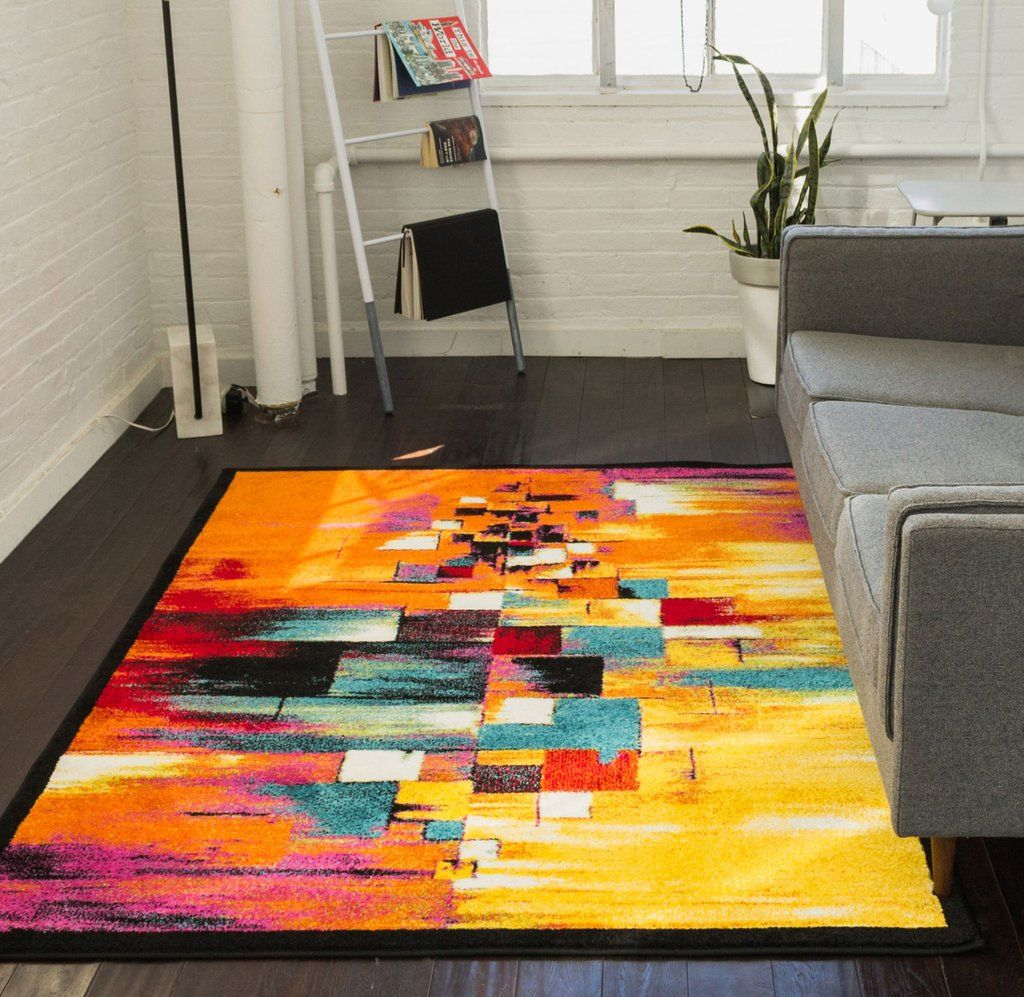 Champlain Multi Cubes Yellow Orange Blue Modern Abstract Painting Area Rug