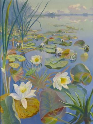 Dirk Smorenberg (1883-1960) Oud-Loosdrecht Water lilies, oil on canvas. Collection Simonis & Buunk, The Netherlands.