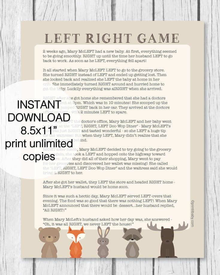 Printable Left Right Baby Shower Game Woodland Animal Theme