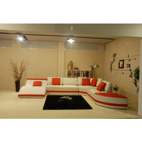 Miami Contemporary Leather Sectional Sofa Set - White / Red | Home ...