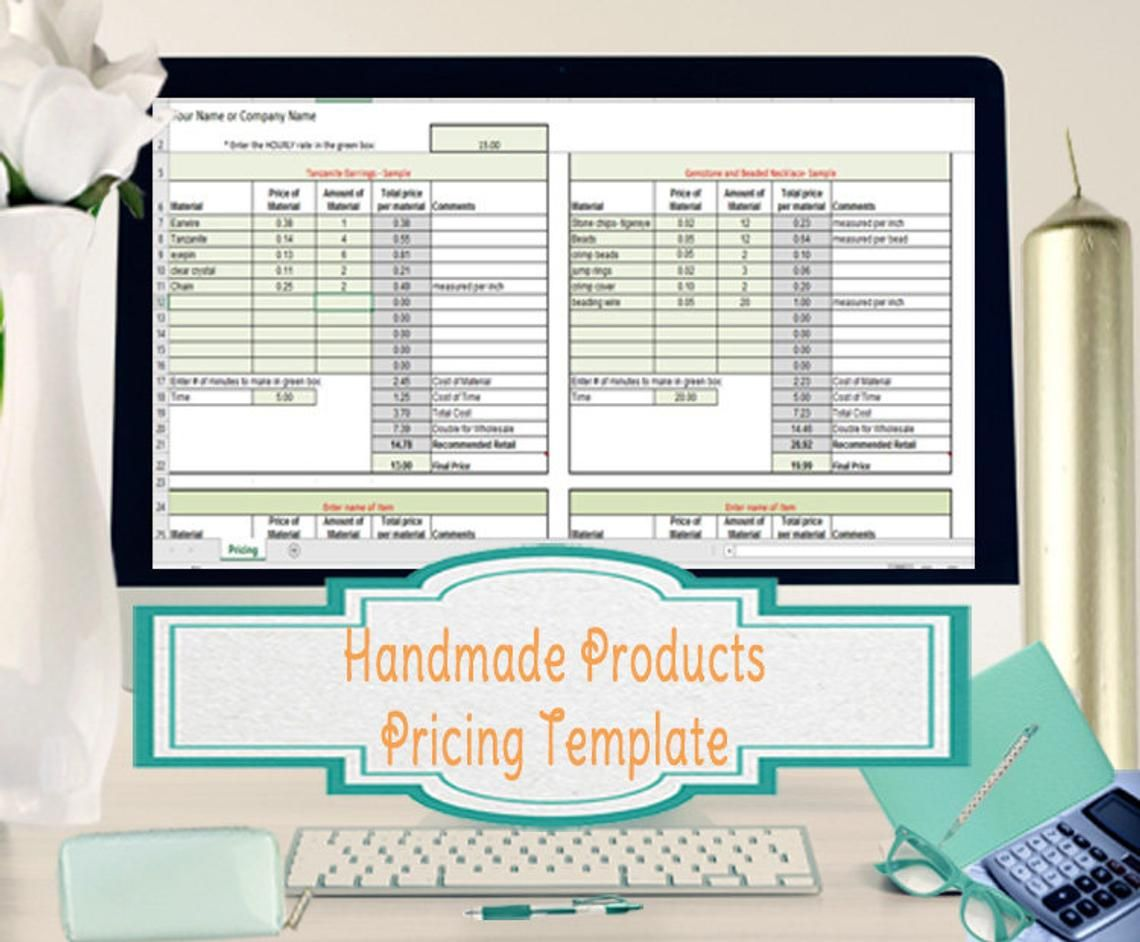 Price To Sell Your Handmade Creations Excel Pricing