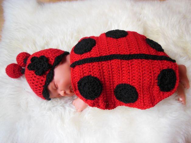 Häkelanleitungen - Häkelanleitung Baby Kostüm/outfit Marienkäferle ...