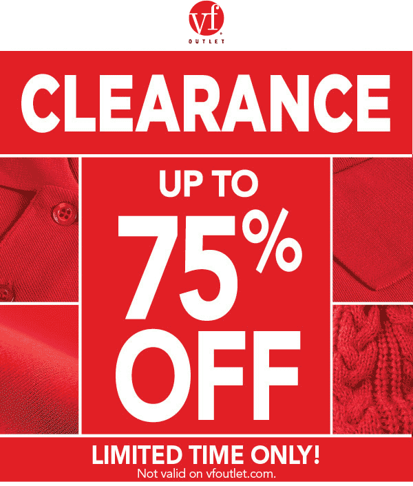 Pinned January 5th: 75% off clearance sale going on at VF #Outlet #coupon via The #Coupons App