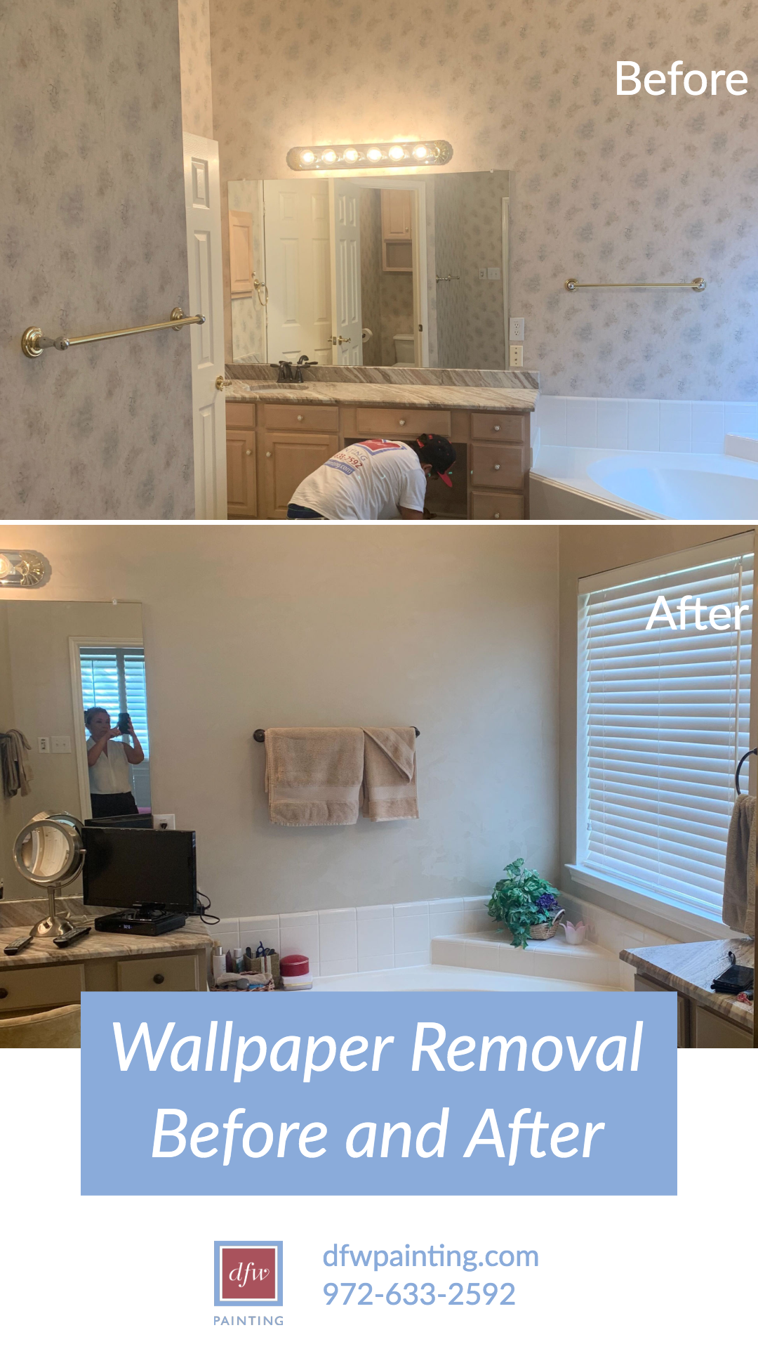 Wallpaper Removal Before And After Bathroom Renovation Dfw Painting Removable Wallpaper Wallpaper Painting Wallpaper