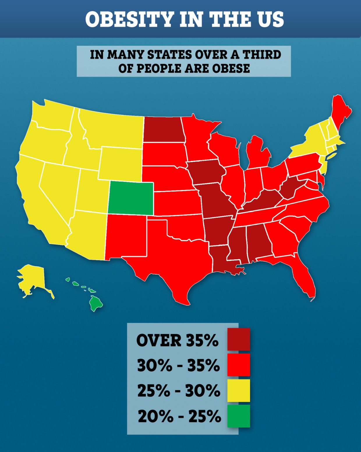 Obesity map of USA reveals the states where 40 are