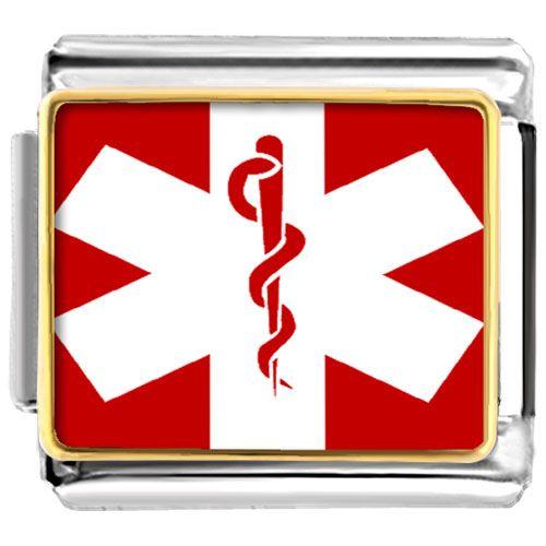 medical charm bracelets Items from KS - golden italian charm bracelet plated sign medical alert photo Image.