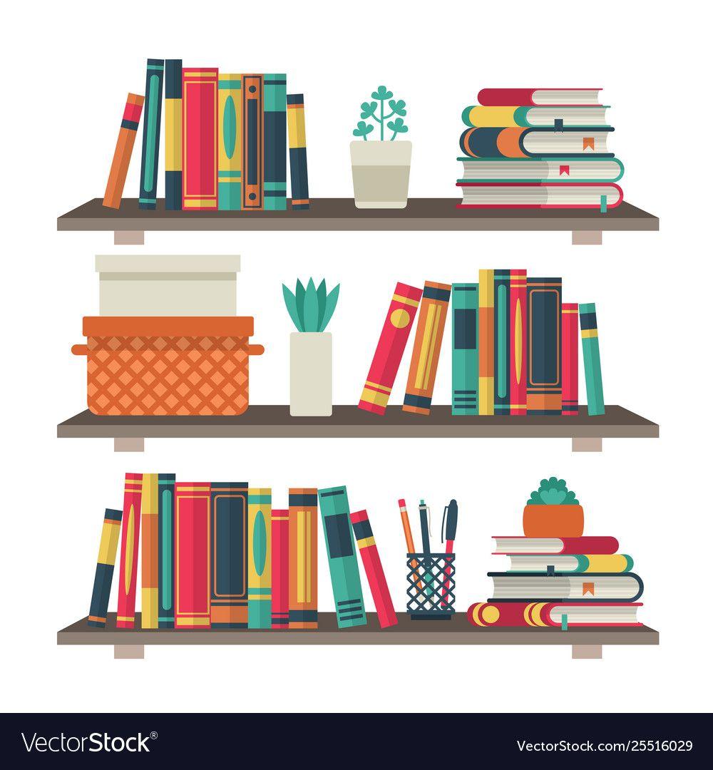 Flat Bookshelves Shelf Book In Room Library Vector Image Affiliate Shelf Book Flat Bookshelves Ad Bookshelves Shelves Free Vector Graphics