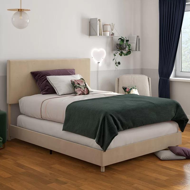 Taylor Upholstered Standard Bed Velvet bed, Grey velvet