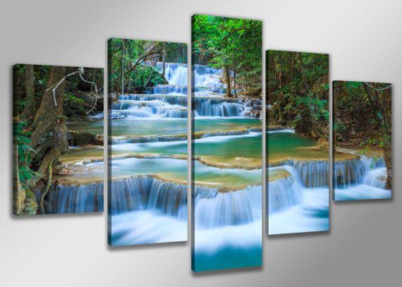 Cuadro En Lienzo Cascada Rio Naturaleza Arte Dibujo Arte