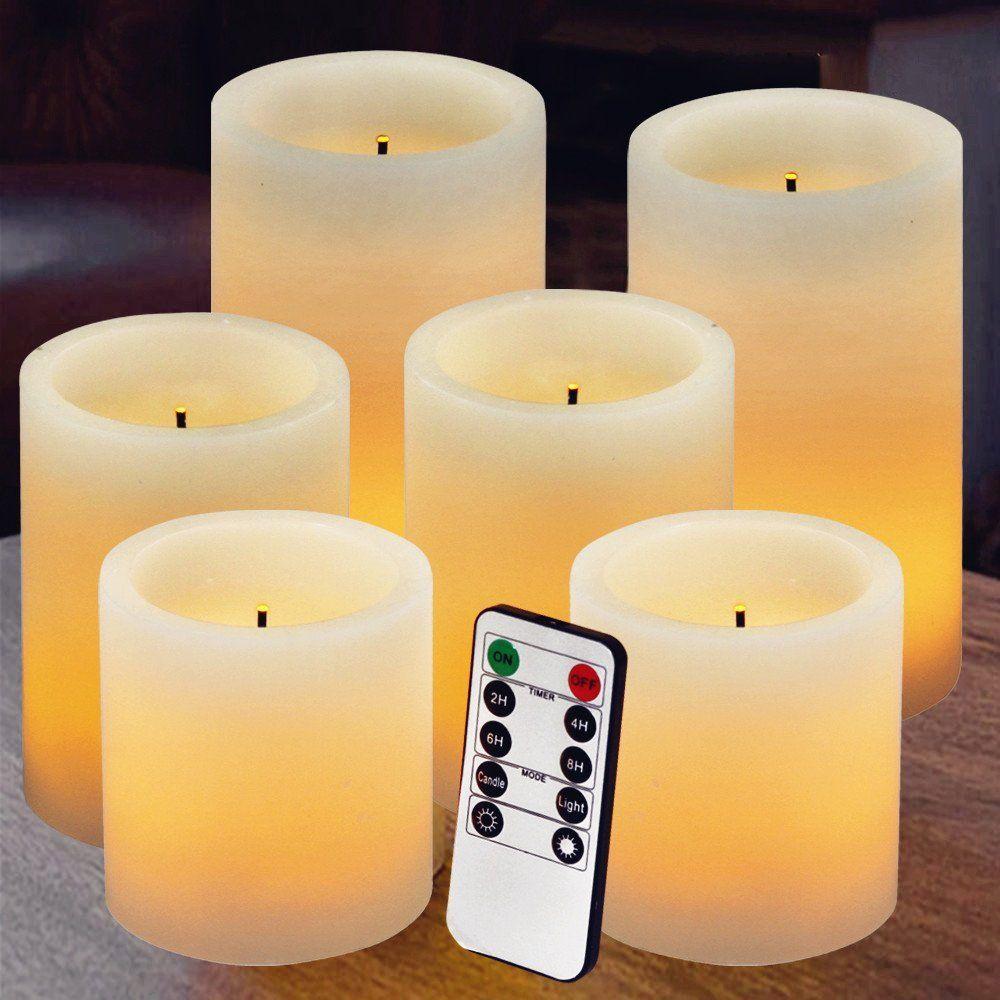 Flameless Candles Battery Candles Battery Powered Classic Pillar Optical Fiber Wick Real Wax Candle Set 3 X3 4 Battery Candles Flameless Candles Candle Set