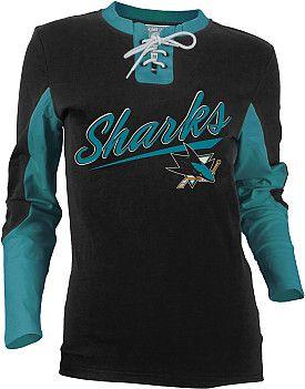 sale retailer e96d5 9c2ab Old Time Hockey San Jose Sharks Women's Adina Laceup Jersey ...
