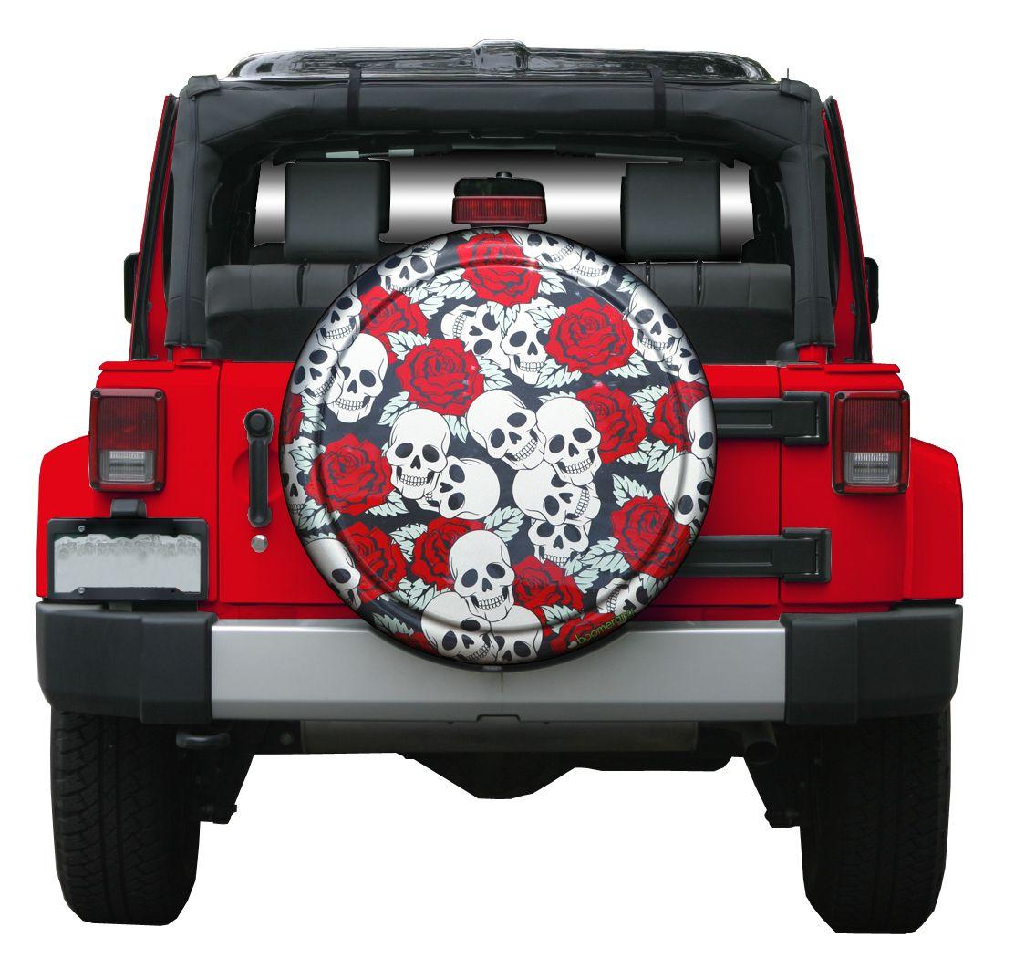 Boomerang Rigid Tire Cover Skulls Roses Jeep Tire Cover
