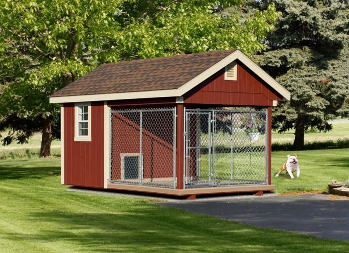 Fully Assembled 8 x 12 ft Amish 1 Run Dog Kennel  Fully Assembled 8 x 12 ft Amish 1 Run Dog Kennel