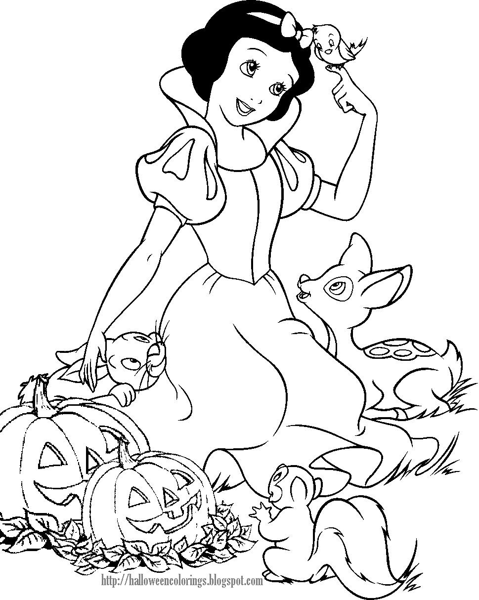 Snow White Disney Halloween Coloring Sheet Disney Princess