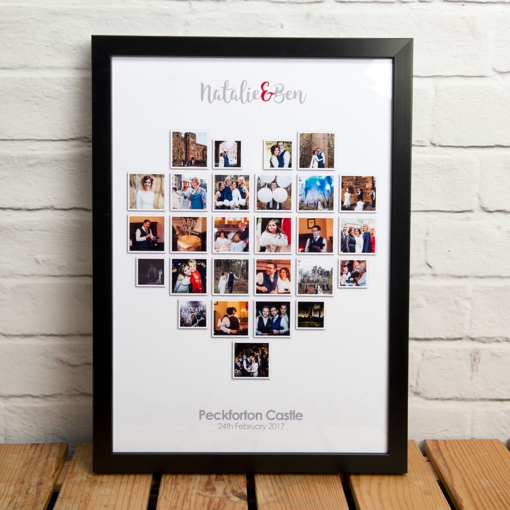 PERSONALISED HEART PHOTO COLLAGE / MONTAGE - PRINT, FRAMED PRINT OR CANVAS BLOCK