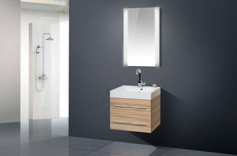 Waschtisch 60 cm Design Badmöbel Set Lichtspiegel Jetzt bestellen - badezimmerm bel set holz