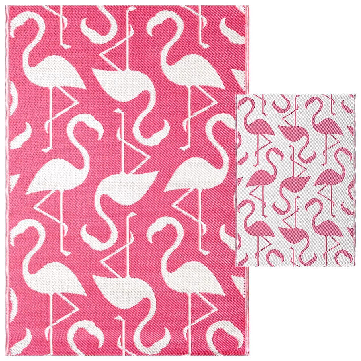 Pink Flamingo Outdoor Woven Area Rug 5x7 Patio Rugs