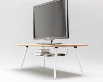 Fernsehtisch modern  Mid Century, Modern, Fernsehtisch , TV-Ständer aus massiver Eiche ...