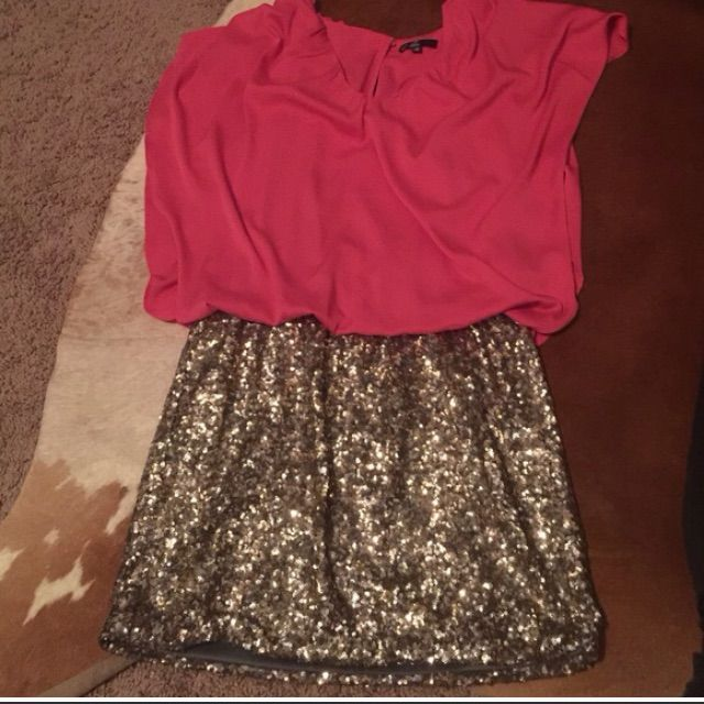 Pink And Sequin Bottom Formal Dress Size Medium M